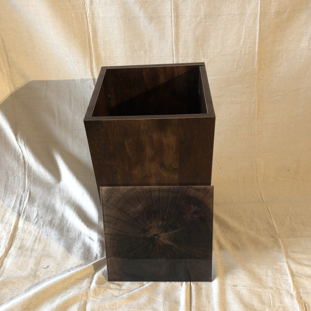 Mid-Century Modern Faux Tree Stump Square Side Table For Sale - Image 3 of 6
