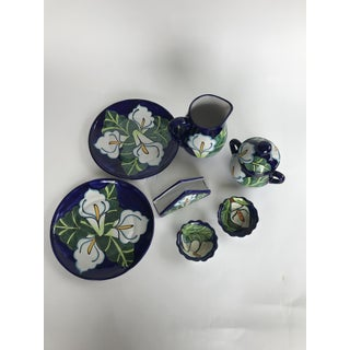 1980s Vintage Mexican Handmade Talavera Pottery Serving Set- 9 Pieces Preview