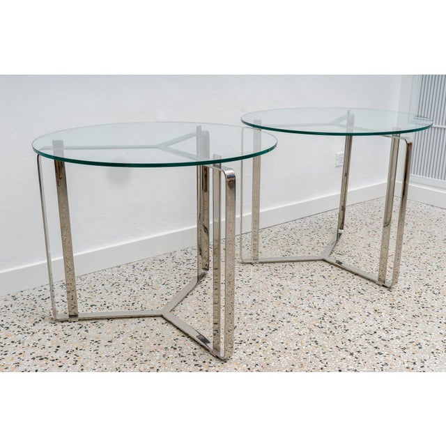 Mid-Century Modern Glass and Steel Round End Tables - a Pair For Sale - Image 3 of 7