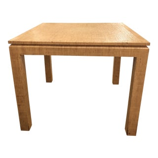 Vintage Grasscloth Covered Table For Sale