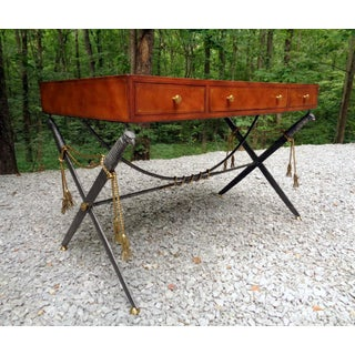 Vintage Maitland Smith Leather Top Campaign Desk Preview