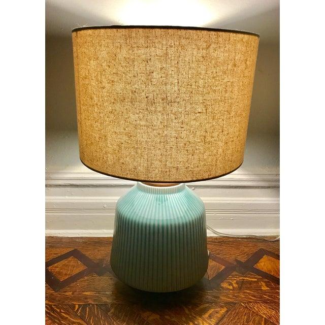 West elm roar rabbit ripple turquoise ceramic table lamp chairish west elm roar rabbit ripple turquoise ceramic table lamp image 3 aloadofball Choice Image