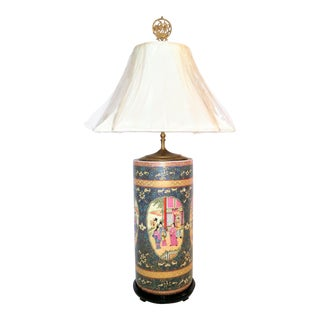 Asian Satsuma-Style Large Table Lamp For Sale