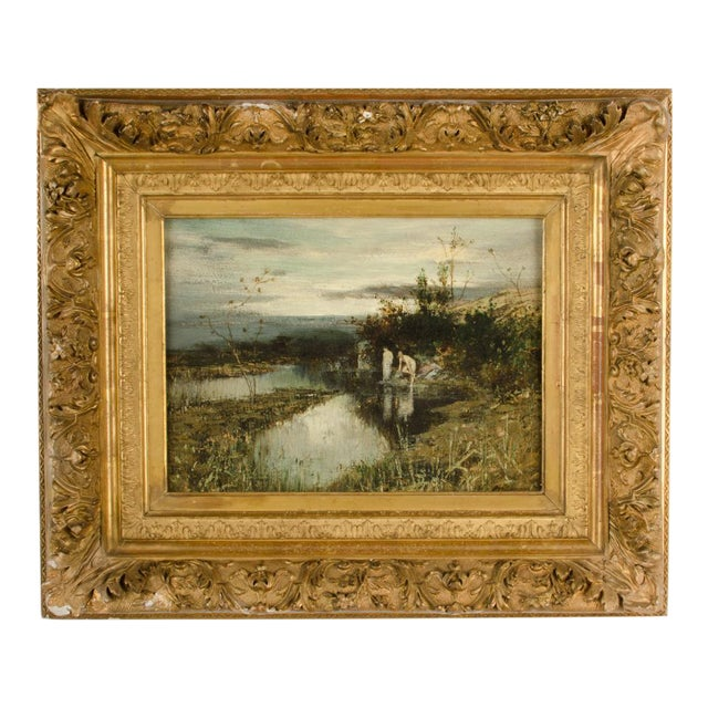 """19th Century """"Quick Dip"""" Figurative Oil Painting, Framed For Sale"""