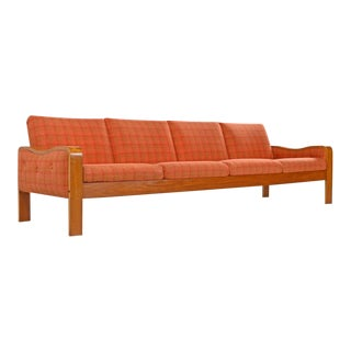 Vintage Original Scandinavian Bent Teak Plaid Wool Upholstered Sofa Couch, 1970s For Sale