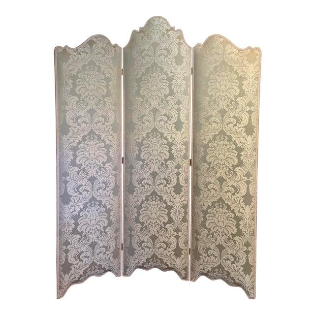 Vintage Scalamandre Damask Louis XVI Style 3 Panel Room Divider Floor Screen For Sale