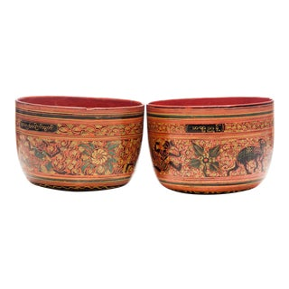 19th Century Antique Burmese Lacquered Cups - a Pair For Sale