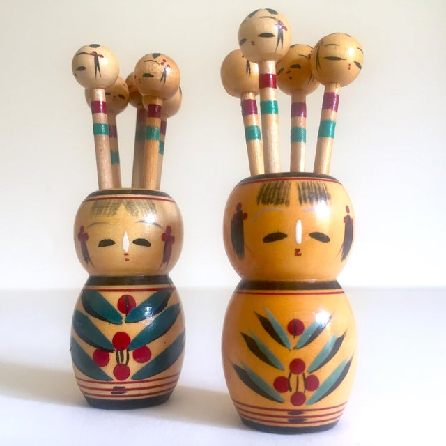 Various Artists Vintage Mid Century Japan Rare Kokeshi Hand Painted Wood Hors d'Oeuvre Picks / Cocktail Skewers - 11pc Set For Sale - Image 4 of 13