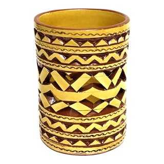 Moroccan Hand Painted Yellow Tealight Cup Holder For Sale