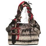 Image of Chanel Grey Black and White Tweed Fur and Ribbon Handbag For Sale