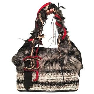 Chanel Grey Black and White Tweed Fur and Ribbon Handbag For Sale