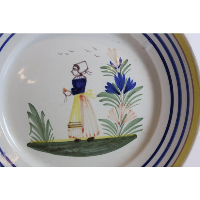 French Quimper French Hand Painted Plates - a Pair For Sale - Image 3 of 5