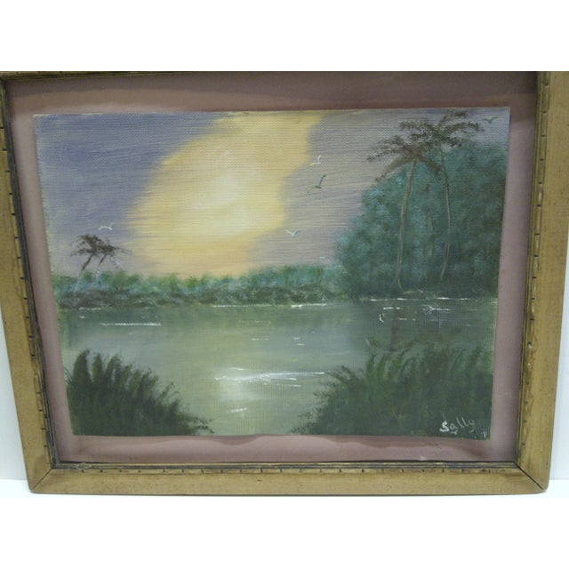 "Original Painting on Paper - ""Sunset"" by Sally, 1940 - Image 4 of 6"
