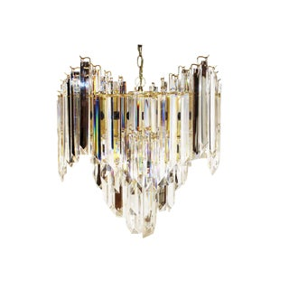 1980s Vintage, Hollywood Regency-Style, Four-Tiered, Staggered Lucite & Brass Chandelier Pendant, 9-Light For Sale