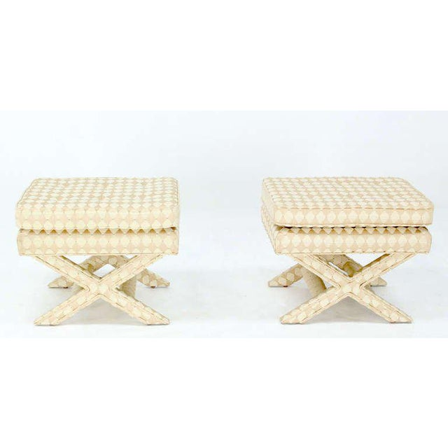 Pair of nice vintage decorator X base benches in excellent condition.