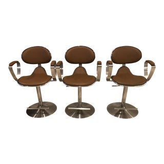 Contemporary Bar Stools - Set of 3 For Sale