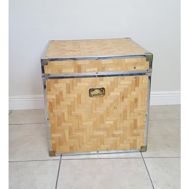 1970s Chinoiserie Woven Bamboo Storage Trunk For Sale - Image 6 of 13