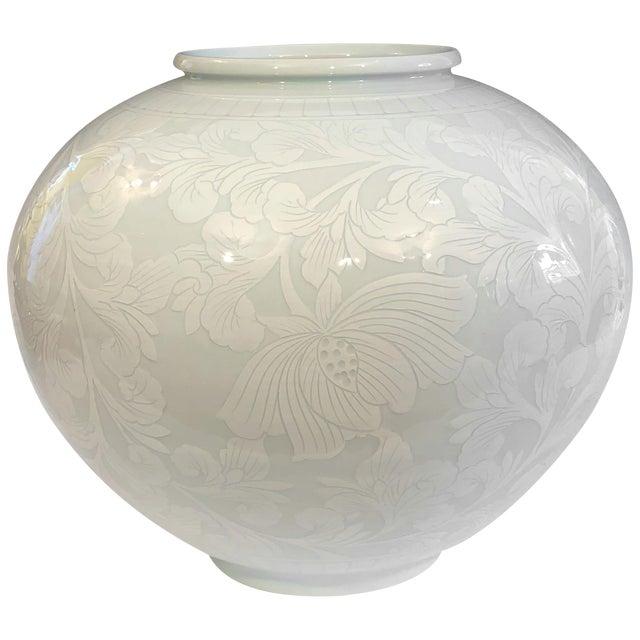 Korean Studio Porcelain Large Moon White Vase Carved Slip Peony Scroll Jar For Sale