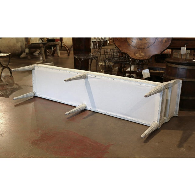 Antique White 19th Century French Louis Philippe Carved and Painted Banquette With Back For Sale - Image 8 of 9