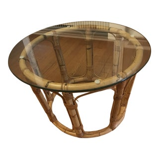20th Century Boho Chic Bamboo and Glass Coffee Table For Sale