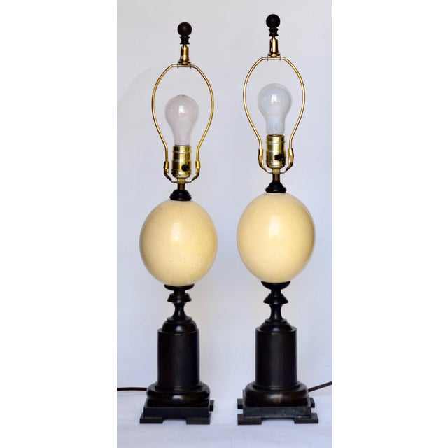 1960s Ostrich Egg and Ebony Base Lamps - a Pair For Sale - Image 5 of 8