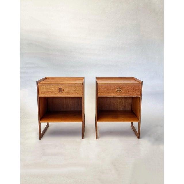 Contemporary 1960s Mid Century Scandinavian Arne Wahl Iversen Nightstands - a Pair For Sale - Image 3 of 12