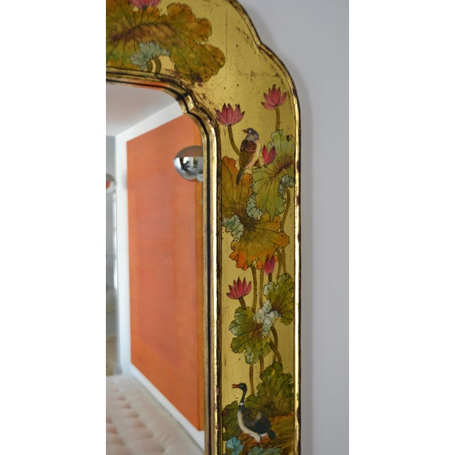 Hollywood Regency Hand-Painted Giltwood Wall Mirror For Sale In West Palm - Image 6 of 12