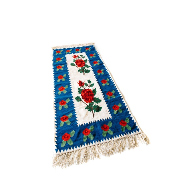 World of Roses - Vintage Hand-Woven Turkish Kilim - 3′4″ × 7′6″ - Image 2 of 7