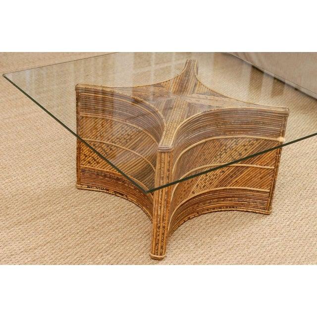 Elegant Vintage Bamboo Coffee Table For Sale In Atlanta - Image 6 of 11