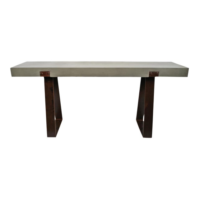 Outdoor Cement & Iron Console For Sale