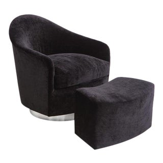Custom Original, Velvet Swivel Chair and Ottoman, USA, 2017 For Sale