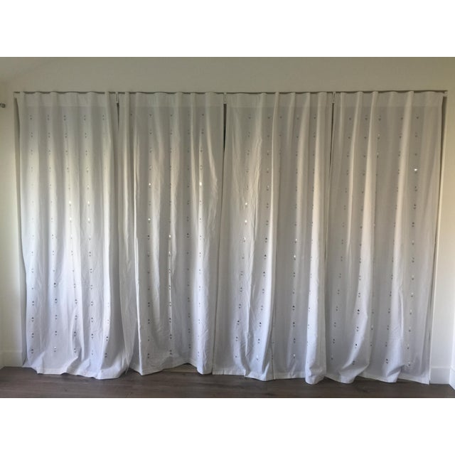 Embroidered Jewelry White Curtains - Set of 4 - Image 5 of 5