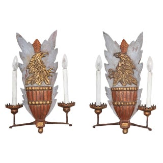 Heraldic Carved Wood Sconces - a Pair For Sale