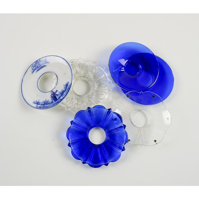 Mixed Blue & Clear Bobeches - Set of 6 For Sale - Image 4 of 5