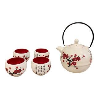 Asian Style Ivory Tea Set - 5 Piece Set For Sale