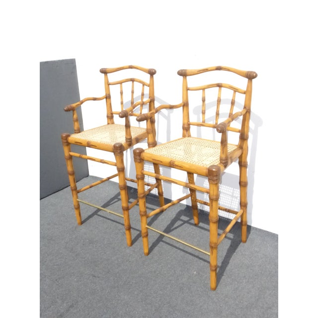 Faux Bamboo Bahama Style Bar Stools - A Pair For Sale - Image 4 of 11