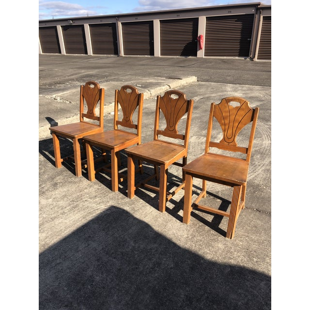Art Deco Style Wooden Side Dining Chairs -Set of 4 For Sale - Image 4 of 13