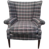 Image of Gray Plaid Wing Chair For Sale