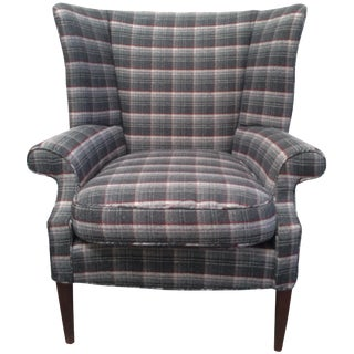 Gray Plaid Wing Chair For Sale
