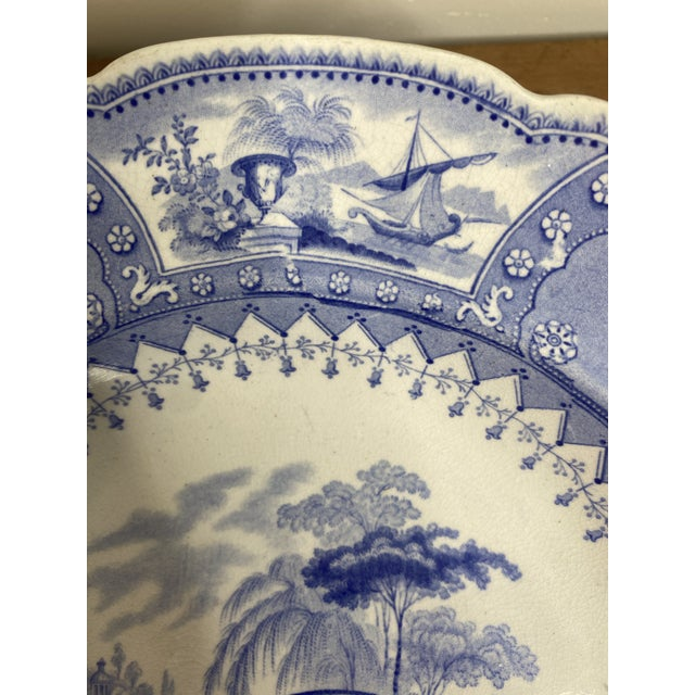 Mid 19th Century Antique Staffordshire Blue and White Soup Bowls/Plates - Set of 7 For Sale - Image 5 of 9