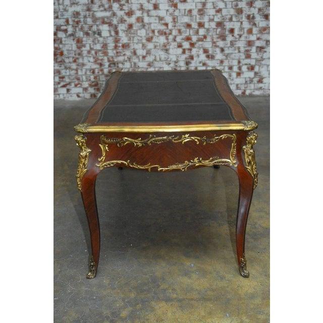 Animal Skin Louis XV Style Ormolu Mounted Figural Bureau Plat Desk For Sale - Image 7 of 10