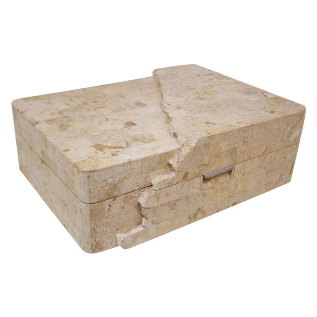 Maitland-Smith Vintage Travertine Marble Box For Sale