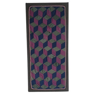 1920s Amish Rare Cradle Quilt/Tumbling Blocks For Sale
