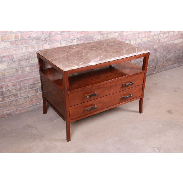 Baker Furniture Company Baker Furniture Modern Mahogany Marble Top Buffet Server For Sale - Image 4 of 13