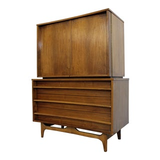Mid-Century Modern Concave Front Walnut Tall Chest Armoire For Sale