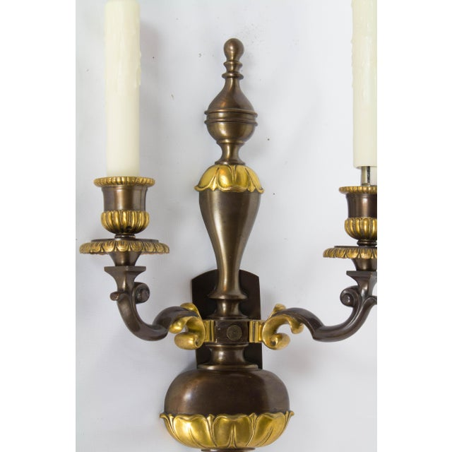 Early 20th Century Two Toned Gilt Bronze Sconces - a Pair For Sale In Boston - Image 6 of 7
