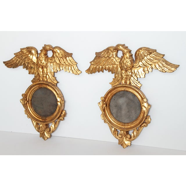 Gold Pair of Giltwood Mirrors With Eagles, Wings Outstretched For Sale - Image 8 of 13