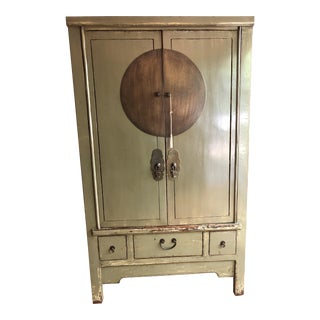 20th Century Chinese Green 2 Door Armoire Cabinet