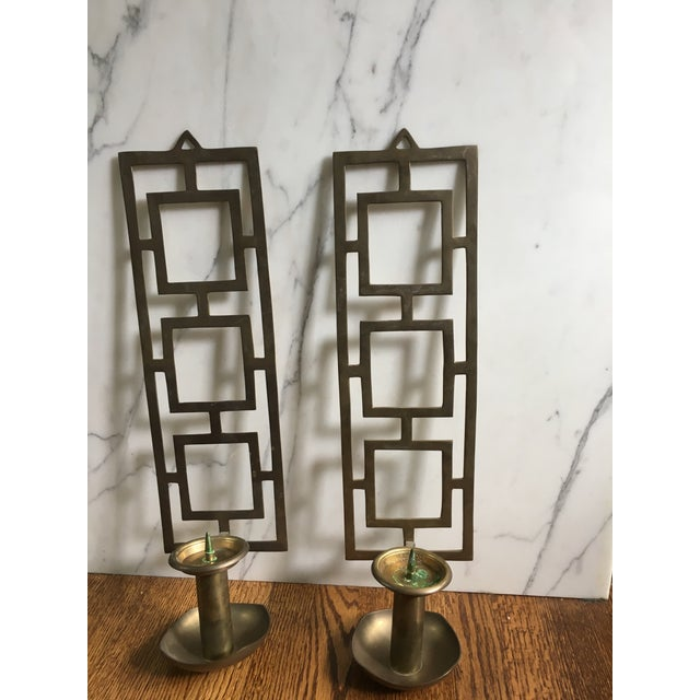 Asian Mid Century Indian Nora Fenton Brass Wall Sconce Candle Holder - A Pair For Sale - Image 3 of 8