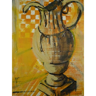 """""""Yellow Pitcher"""" Contemporary Cubist Style Still Life Mixed-Media Painting by Martha Holden For Sale"""